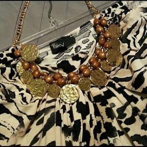 SKY  Animal print gold chain top